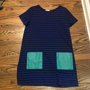 Soprano Blue & Black Striped Dress